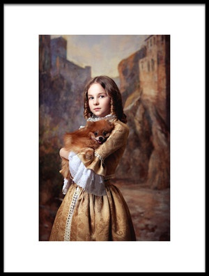 Art print titled A Girl and Her Dog by the artist Alina Lankina