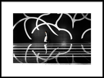Art print titled A Girl In Black and White by the artist Tetsuya Hashimoto