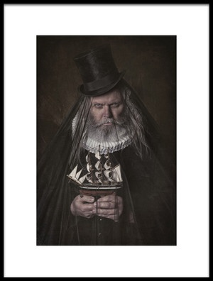 Art print titled A Old Men With His Little Boat by the artist Carola Kayen-Mouthaan