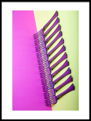 Art print titled Abstract Still-life With Forks On a Colorful Background by the artist Brig Barkow