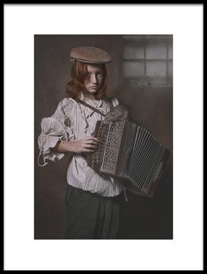 Art print titled Accordion Boy by the artist Carola Kayen-Mouthaan