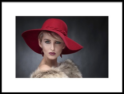 Art print titled Ambers Red Hat by the artist Hugh Wilkinson