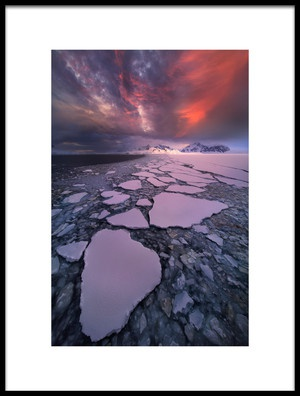 Art print titled Antarctica Fire by the artist Victor Liu