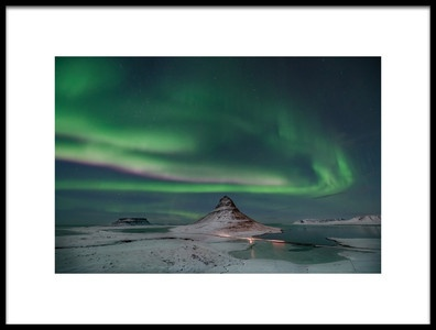 Art print titled Aurora Borealis Over Kirkjufell by the artist April Xie