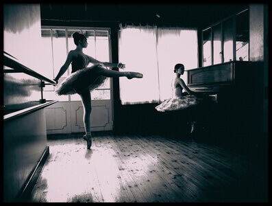 Buy this art print titled Ballerina and Piano by the artist DAVID MINSTER
