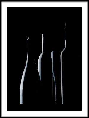Art print titled Bottles Waiting by the artist Jorge Pena