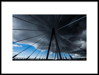 Art print titled Bridge Under Troubled Skies by the artist Jorun Larsen