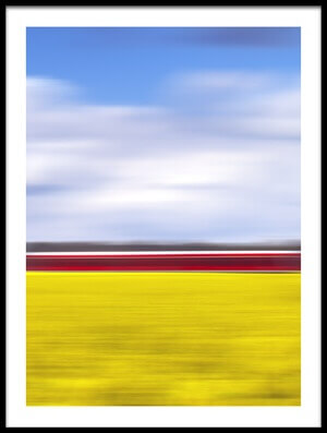 Buy this art print titled Canola & the Red Train by the artist Oliver Buchmann