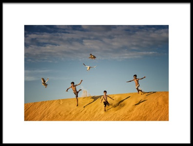 Art print titled Chasing Ducks by the artist Burak Senbak