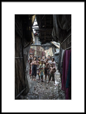 Art print titled Children at Bangladesh Slum by the artist Adam Wong