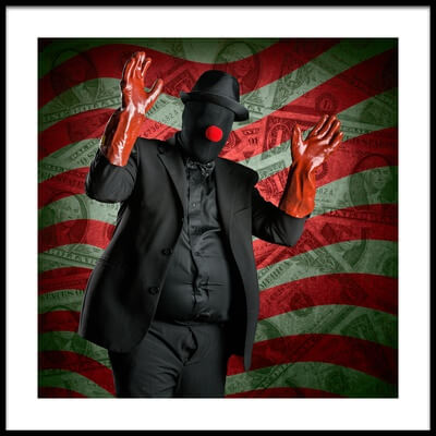 Art print titled Corporate Clown by the artist Petri Damstén