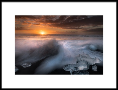 Art print titled Dawn at Jokulsarlon by the artist Alfred Forns