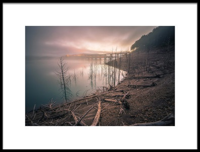 Art print titled Dawn In the Reservoir by the artist Manuel Bermdez