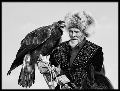 Art print titled Eagle and Old Man by the artist Shirley Shen