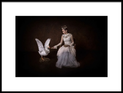 Art print titled Fairytale of Goose and the Princess by the artist Carola Kayen-Mouthaan