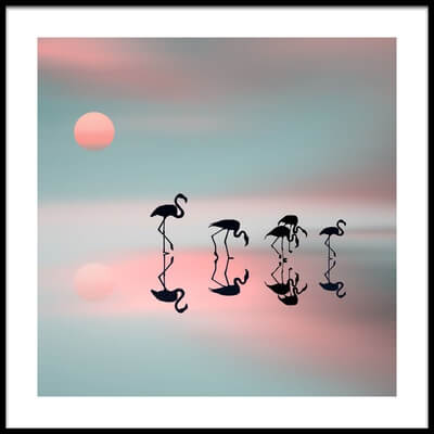 Art print titled Family Flamingos by the artist Natalia Baras