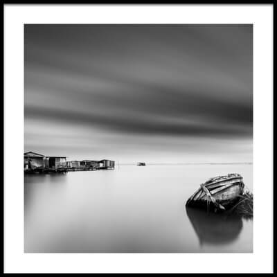 Buy this art print titled Fisherman's Boat and Huts by the artist George Digalakis