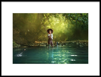 Art print titled Fishing by the artist Evgeny Loza