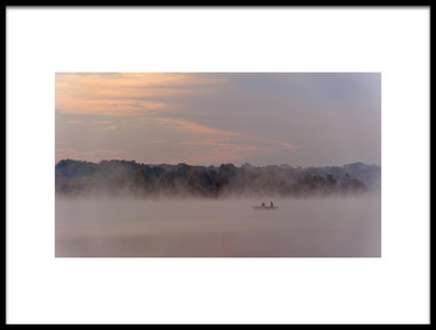 Art print titled Fishing On a Foggy Lake by the artist 李从军 / Austin Li