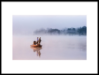 Art print titled Fishing On Foggy Lake by the artist 李从军 / Austin Li