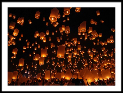 Art print titled Floating Lanterns by the artist Vichaya