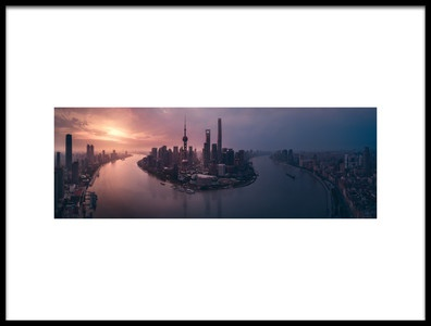 Art print titled Flying Shanghai by the artist Javier de la Torre