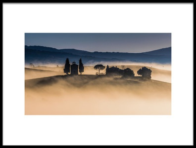 Art print titled Foggy Dawn In Val DOrcia by the artist Robert Debreczeni