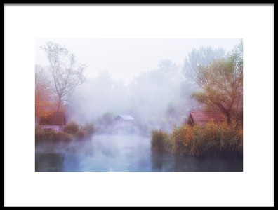 Art print titled Foggy Mornings On the Lake by the artist Leicher Oliver