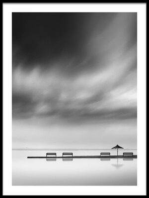 Art print titled Four Benches and One Umbrella by the artist George Digalakis