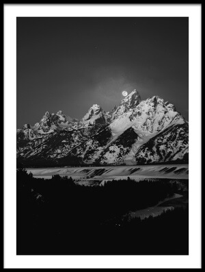 Art print titled Full Moon Sets In the Teton Mountain Range by the artist Raymond Salani III