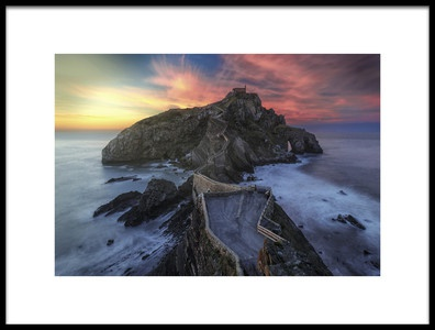 Art print titled Gaztelugatxe Sunset by the artist Alejandro Garcia