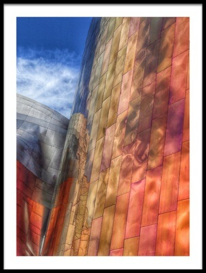 Buy this art print titled Gehry Architecture, Seattle, Washington USA by the artist Randall Osterhuber
