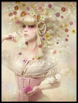 Art print titled Girl of the Flower Garden by the artist Kiyo Murakami