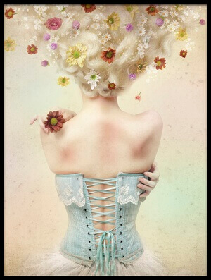 Art print titled Girl of the Flower Garden by the artist Kiyo Murakami