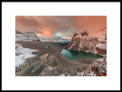 Art print titled Golden Light Over Opabin Lake by the artist David Hua