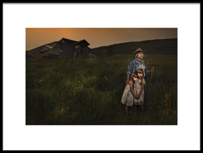 Art print titled Jess and the Kids by the artist Claude Brazeau