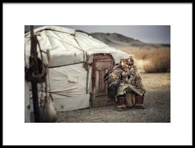 Art print titled Kazakh Eagle Hunter of Mongolia by the artist Chanwit Whanset