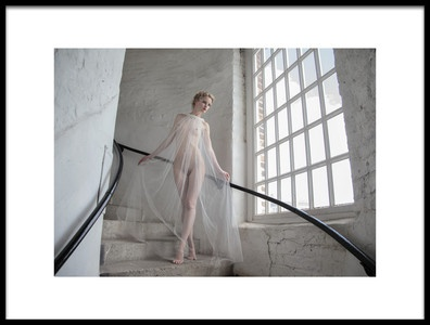 Art print titled Lady In the Stairwell by the artist Hugh Wilkinson