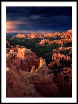 Art print titled Lightning Over Bryce Canyon by the artist Stefan Mitterwallner