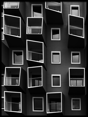 Art print titled Living In Boxes by the artist Kent Mathiesen