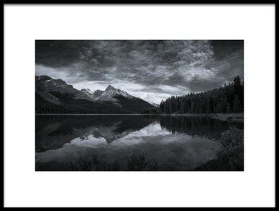Art print titled Maligne Lake at Dusk by the artist David D