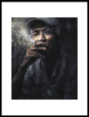 Art print titled Man With Cigar, Myanmar by the artist Massimo Cuomo