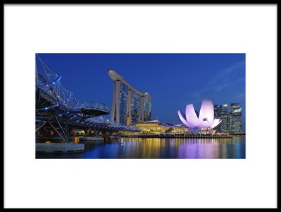 Art print titled Marina Sands Bay  Blue Hour by the artist Assaf Gavra