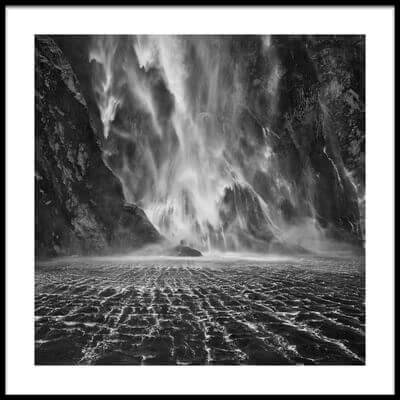 Buy this art print titled Milford Sound Waterfalls by the artist Yan Zhang