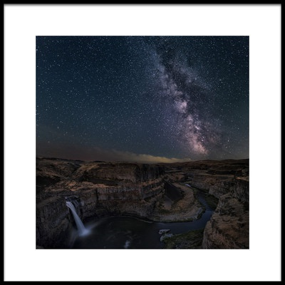 Art print titled Milky Way Over Palouse Falls by the artist Lydia Jacobs