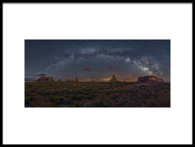 Art print titled Milky Way Over the Monument Valley by the artist Hua Zhu