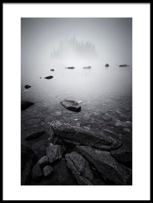 Art print titled Misty Lake by the artist Lydia Jacobs