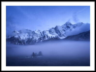 Art print titled Misty Winter Evening by the artist Daniel Fleischhacker