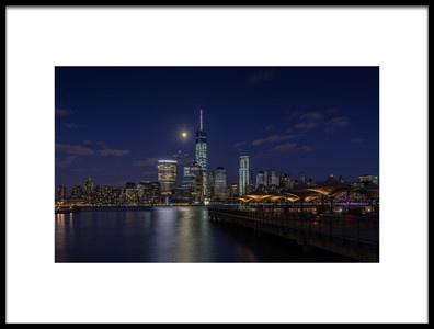 Art print titled Moonlight Over Lower Manhattan by the artist David D