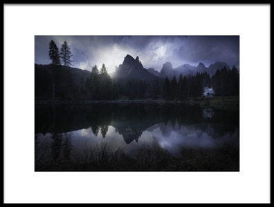Art print titled Mountains In Blue by the artist Luca Rebustini